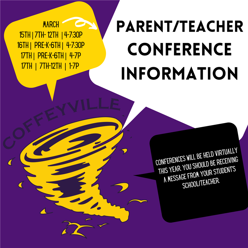 Virtual Parent Teacher Conferences will be held March 15th-17th.