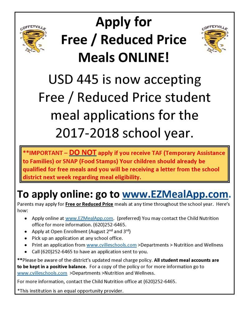 Free/Reduced Meal Application!